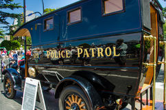 Restored Vintage Police Paddy Wagon. Beautifully restored 1921 Victoria Police Patrol Paddy Wagon is admired by crowds attending the Northwest Deuce Days in the Royalty Free Stock Image