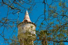 Restored water tower. In a public park in Barcelona district Barceloneta. Focusing on the branches Royalty Free Stock Photos