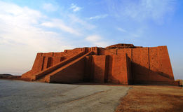 Restored ziggurat in ancient Ur. Sumerian temple, Iraq royalty free stock photos
