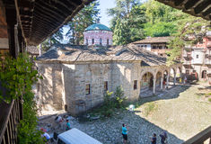 Restorers in the old Troyan Monastery in Bulgaria royalty free stock photography