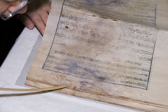 Restoring ancient book Royalty Free Stock Photos