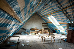 Restoring the attic stock image