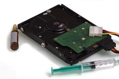Restoring the hard disk. Using the allegory Stock Image