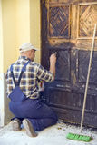 Restoring old door Royalty Free Stock Photos