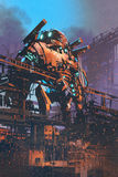 Restoring the old giant robot in abandoned factory. Illustration painting Royalty Free Stock Photo