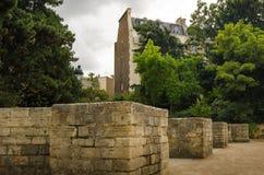 Restos antiguos de Arenes de Lutece en París Imágenes de archivo libres de regalías