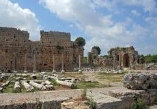 Restos de la ciudad romana antigua Fotografía de archivo