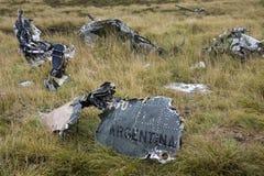 Restos de un jet de Argentina - guerra de Malvinas imágenes de archivo libres de regalías