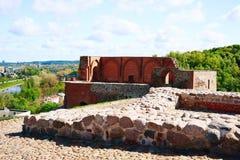 Restos del castillo superior en la colina de Gediminas en Vilna Imagen de archivo libre de regalías