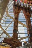 Restos memoráveis das construções de 9/11 de aço dos tridentes do museu das torres gêmeas destruídas Imagens de Stock