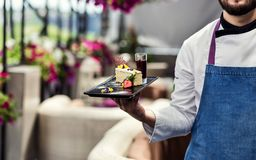 Restourant Chef presenting new dessert menu - cooking, profession, haute cuisine, food and people concept royalty free stock photography