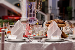 Restourant's table prepared for celebrating event in the restaurant.. Stock Photo