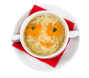 Restourant serving dish for child`s menu - noodles soup with fac Stock Images
