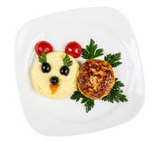 Restourant serving dish for child`s menu - potato puree, cutlet Royalty Free Stock Image