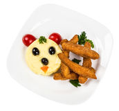 Restourant serving dish for child`s menu  potato puree, sticks Royalty Free Stock Photography