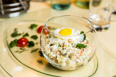 Restourant serving dish  salad in glass on table Royalty Free Stock Images