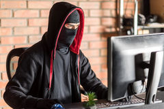 Restrained computer burglar robbing information Stock Images