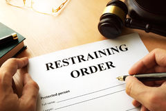 Restraining order. Document with the name restraining order Stock Images