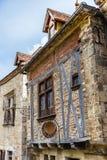 Restraurant im Heiligen-Cirq-Lapopie in Frankreich Stockbild