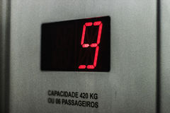 Restricción de la capacidad, del piso y del peso del elevador Fotos de archivo libres de regalías
