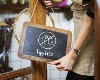 Restricción prohibida alergia afectada libre del huevo fotografía de archivo libre de regalías