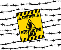 Restricted. Raster graphic depicting a warning sign on a barbed wire fence Royalty Free Stock Photo
