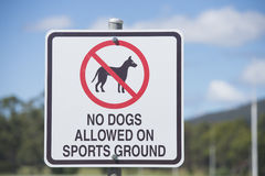 Restricted Access Sign for Dogs on Sports Ground Royalty Free Stock Images