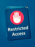 Restricted Access Sign. Grungy Restricted Access Sign With A Hand Symbol stock images