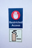 Restricted access. A sign reading  Restricted Access on the ship Stock Photography