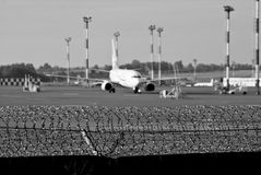 Restricted area. International and military airports royalty free stock photo