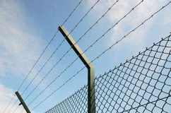 Restricted area. Barb wire around restricted area Royalty Free Stock Photos