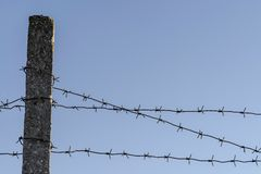 Restricted area. Barbed wire on a blue sky royalty free stock photos