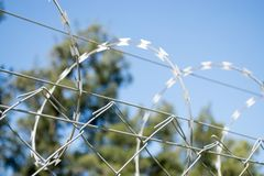 Fence with barbed wire. Restricted area - fence with barbed wire Royalty Free Stock Photos