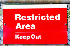 Restricted Area Keep out warning sign Royalty Free Stock Image