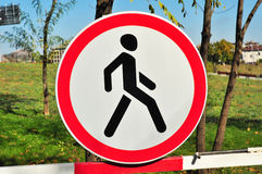 No pedestrians road sign Stock Photography