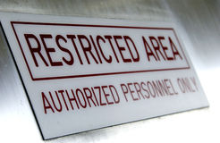 Restricted area sign. Close up of restricted area sign Stock Images
