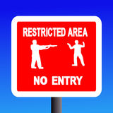 Restricted area sign. Restricted area no entry sign on blue illustration Stock Photos