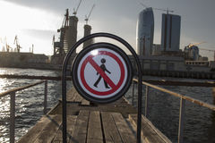 Restricted area sign. On city port Stock Images