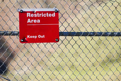 This is a restricted area. Sign indicating it is a restricted area and all are to keep out Royalty Free Stock Images