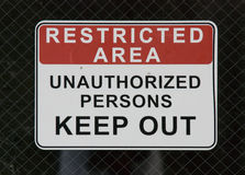 Restricted Area sign outside chemical plant Royalty Free Stock Photography