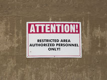 Restricted Area Sign Stock Images