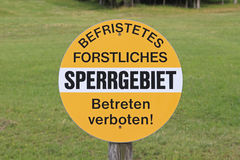 Restricted forest district. German sign - restricted forest district Stock Photography