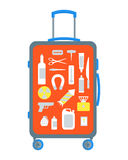 Restricted Items Set in the Suitcase Flat. Vector Stock Image