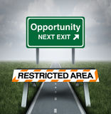 Restricted Opportunity. Concept and business road block symbol as a barrier with text barring entrance to a road with a sign for opportunities as a metaphor for Stock Photos