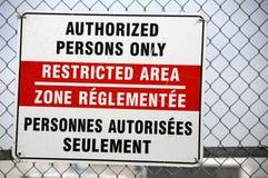 restricted tecken för område Arkivbild