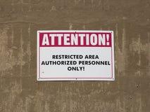 restricted tecken för område arkivbilder