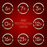 Restriction d'âge du contenu adulte Icône d'appli pour des limites d'âge D'or sur le signe foncé de vecteur illustration de vecteur