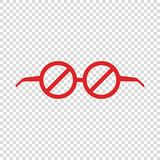 restriction glasses prohibiting to watch empty background royalty free illustration