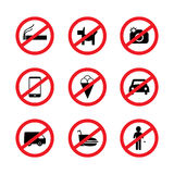 Restriction icon set Royalty Free Stock Image