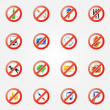 Restriction icons or symbols set Royalty Free Stock Photos